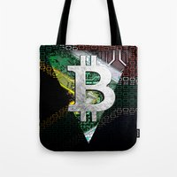 south africa Tote Bags featuring bitcoin South Africa by seb mcnulty
