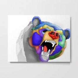 Geo Kodiak Bear Metal Print