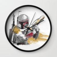 boba fett Wall Clocks featuring Boba Fett by Berta Merlotte