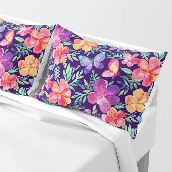 Summer Blooms & Butterflies on Dark Purple by micklyn