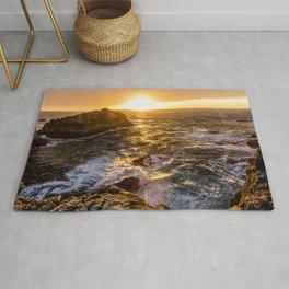 In Waves - Waves Crashing Into Rocks at Sunset In Big Sur Rug