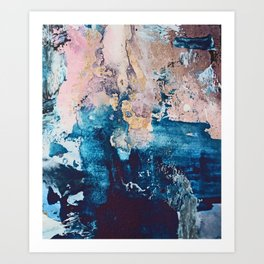 Breathe Again: a vibrant mixed-media piece in blues pinks and gold by Alyssa Hamilton Art Art Print