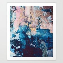 Breathe Again: a vibrant mixed-media piece in blues pinks and gold by Alyssa Hamilton Art Art Print