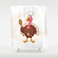 cook Shower Curtains featuring Cartoon Turkey Cook by pixaroma