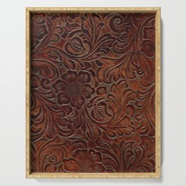 Burnished Rich Brown Tooled Leather Serving Tray