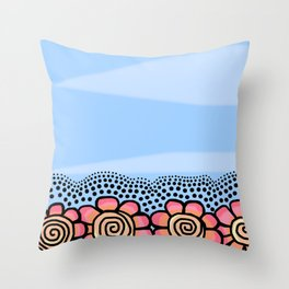 Four Doodle Flowers - Light Blue Pinks Throw Pillow