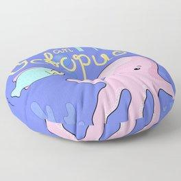 Underwater Cartoon Poster with Octopus Floor Pillow