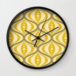 Retro Mid-Century Saucer Pattern in Yellow, Gray, Cream Wall Clock