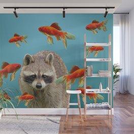 Goldfish Racoon Wall Mural