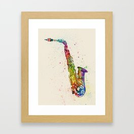 Saxophone Abstract Watercolor Framed Art Print