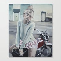 motorcycle Canvas Prints featuring Motorcycle by Laura Preston