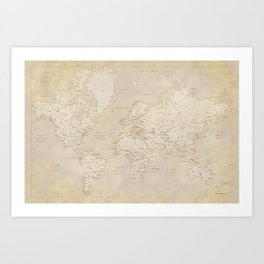 Vintage world map in sepia and gold, Kellen Art Print