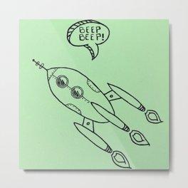 Spaceship Illustration Metal Print