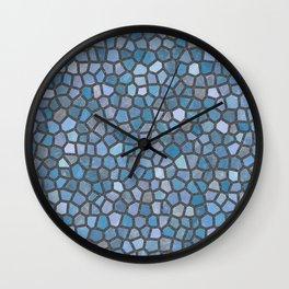 Blue Mosaic Pattern - Dark Wall Clock