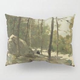 Forest View Near Barbizon 1900 By Johan Hendrik Weissenbruch | Reproduction Pillow Sham