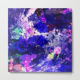 Freedom - Abstract In Blue And Purple Metal Print