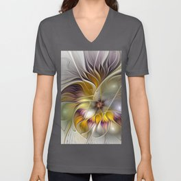 Abstract Fantasy Flower Fractal Art Unisex V-Neck
