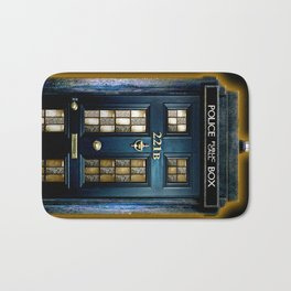 Tardis doctor who Mashup with sherlock holmes 221b door Bath Mat