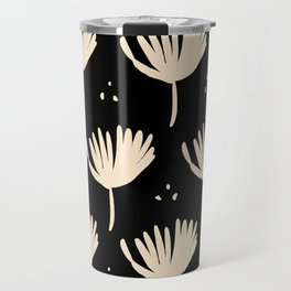 Leaves in black and ivory Travel Mug