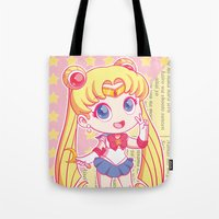 sailor moon Tote Bags featuring Sailor Moon by strawberryquiche