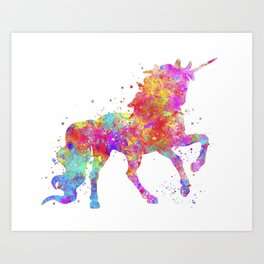 Watercolor Unicorn Art Print