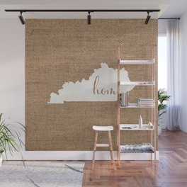 Kentucky is Home - White on Burlap Wall Mural