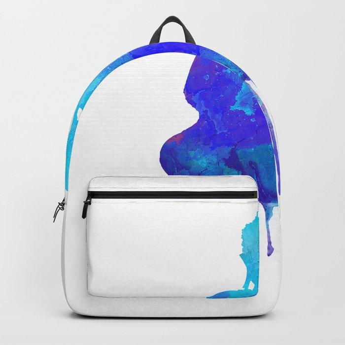 Watercolor zen Buddha blue Backpack