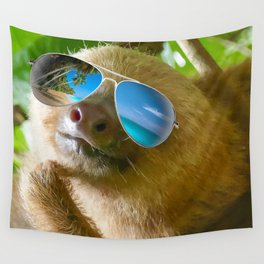 Sloth with Sunglasses, Chillin' Wall Tapestry