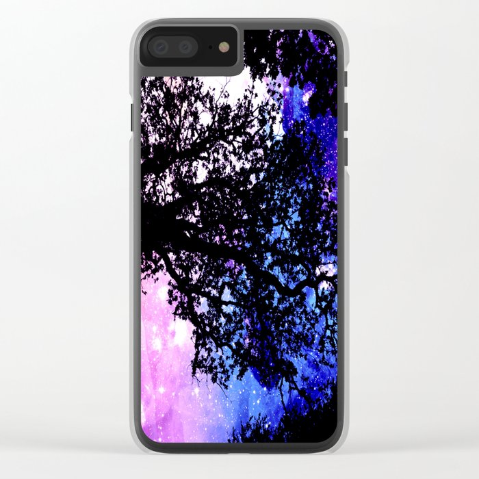 Black Trees Purple Space Clear iPhone Case