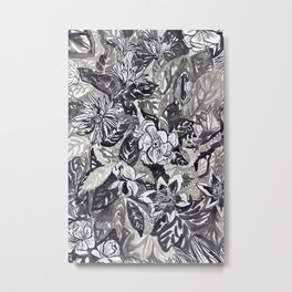 Silver and black floral Metal Print