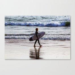 Surfer on the beach Canvas Print