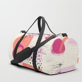 Abstract pink black coral geometric minimalist paint watercolor Duffle Bag