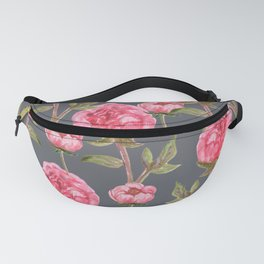 Pink Peonies On Grey Background Fanny Pack