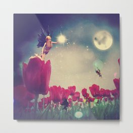 Dream fairy in fantasy land with bright red tulips at night time Metal Print