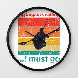 My Kayak Is Calling Vintage Canoe Paddling Kayaking Wall Clock