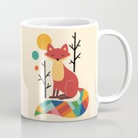 purple Mugs featuring Rainbow Fox by Andy Westface