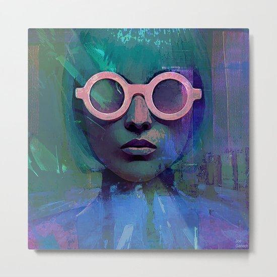 Pink Glasses girl Metal Print
