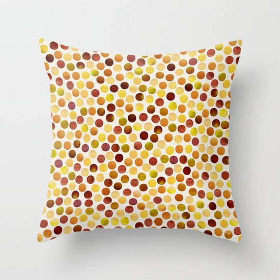 Watercolor Dots_Amber Throw Pillow