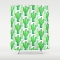coachella Shower Curtains featuring Cactus  by Waters of March Studio