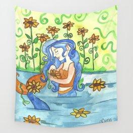 Sunflower Mermaid Wall Tapestry