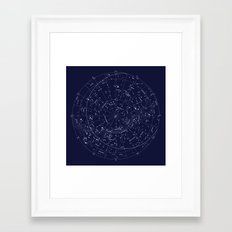 Constellation Map Indigo Framed Art Print
