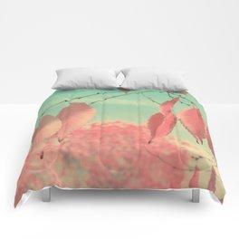 Flamingo Pink Autumn Leaves Comforters