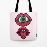 cyclops Tote Bags featuring Cyclops  by King Sophie's World
