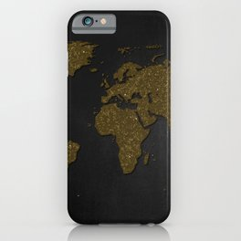 Black and gold world map iPhone Case