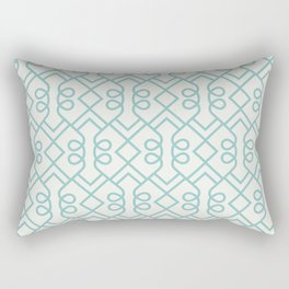 Aqua and White Minimal Diamond Loop Pattern Color of the Year Aqua Fiesta and Delicate White Rectangular Pillow