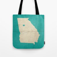 atlanta Tote Bags featuring Atlanta, Georgia by Fercute