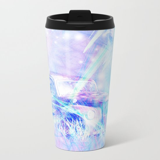 Old car in pink and blue space Metal Travel Mug