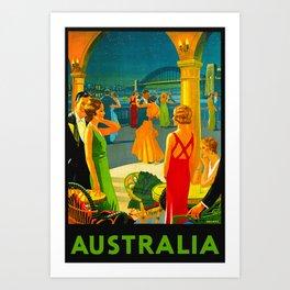 Vintage Sydney Australia Travel Art Print