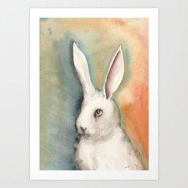 Portrait of a White Rabbit Art Print