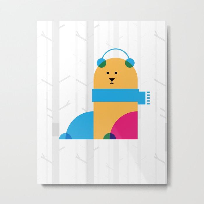 THE MISSING SCARF - Bear Metal Print